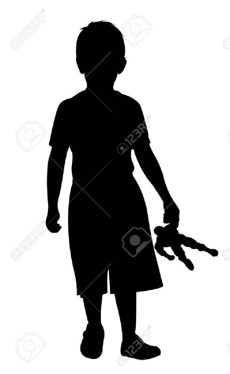a boy standing ,, silhouette vector - 60149975