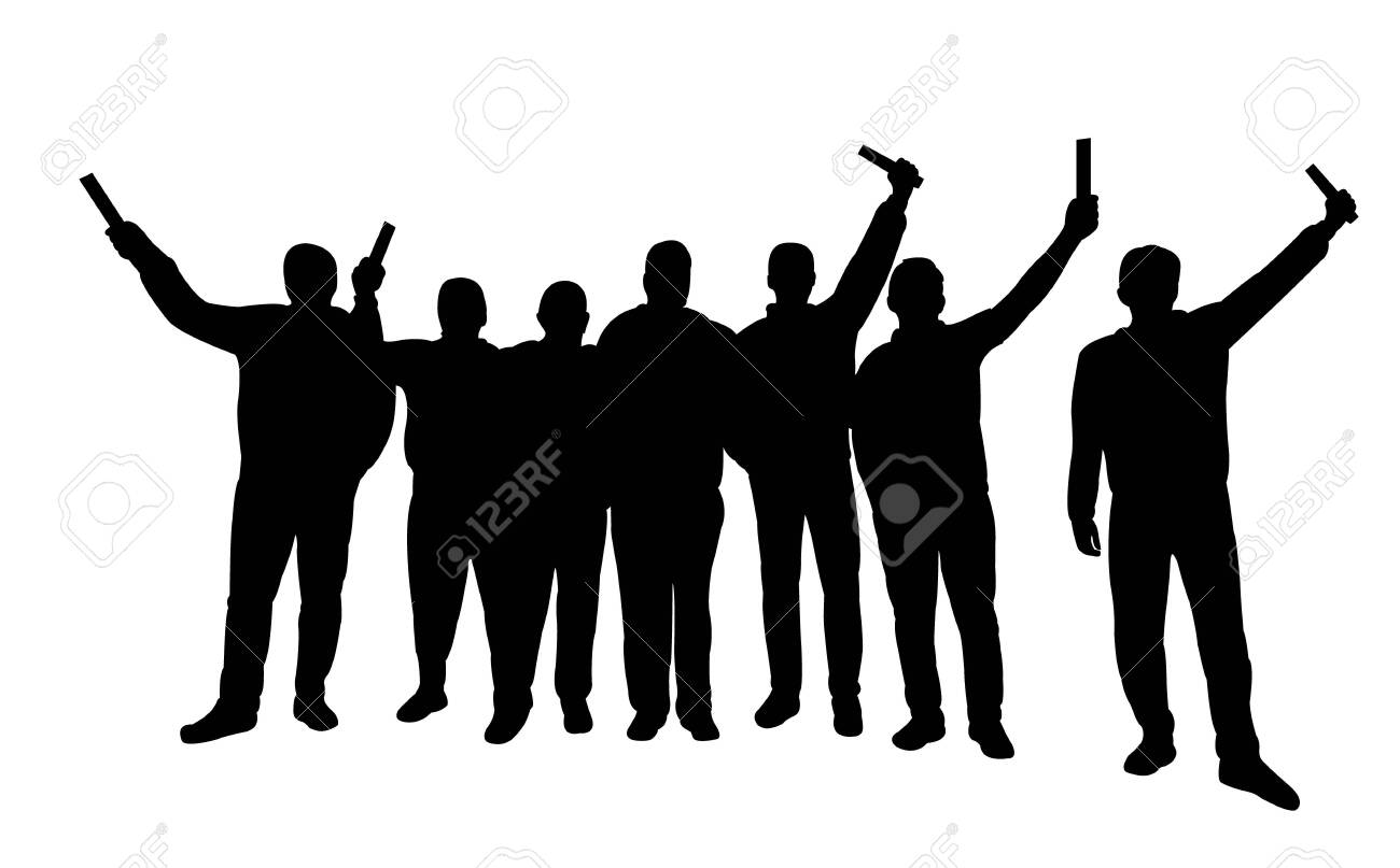 hooligans together, silhouette vector - 144108902