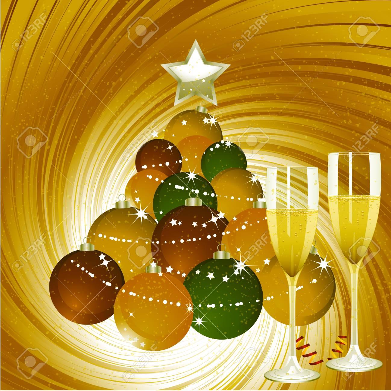 Christbaumkugeln Champagner Glas.Stock Photo