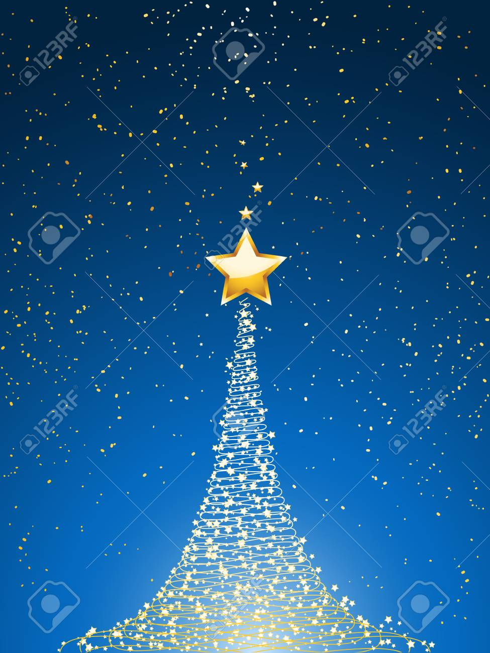 Christmas Background Images Portrait.Golden Glowing Christmas Tree And Star Over Blue Portrait Background