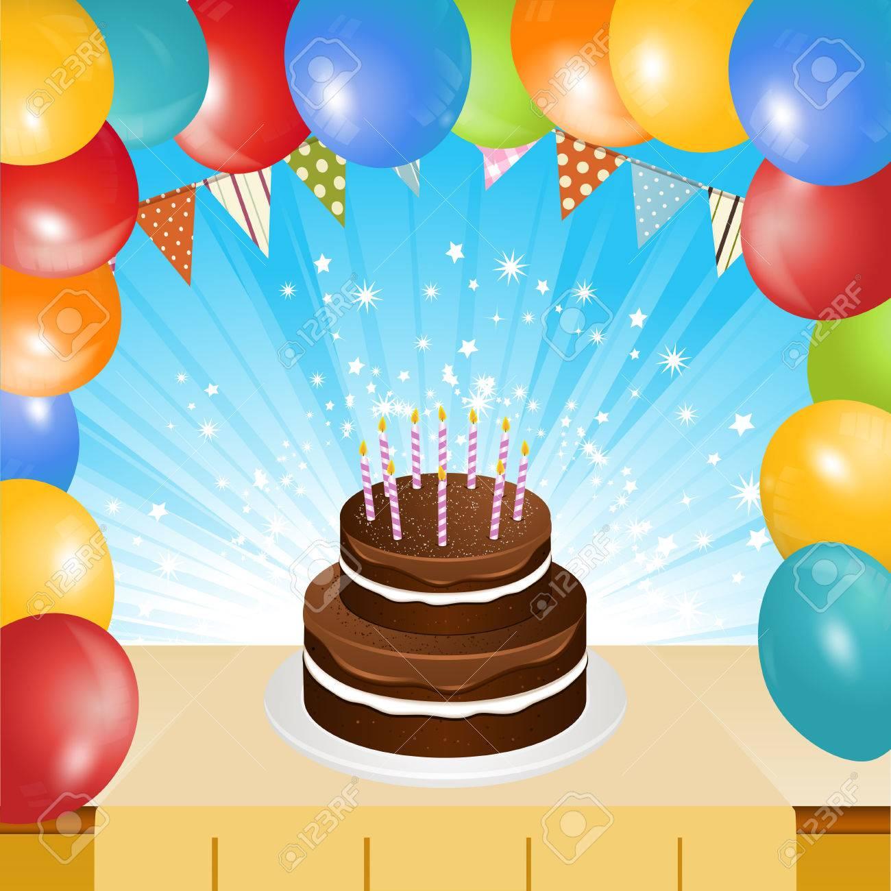 pastel de chocolate de cumpleaos con velas en la mesa con el marco de globos y