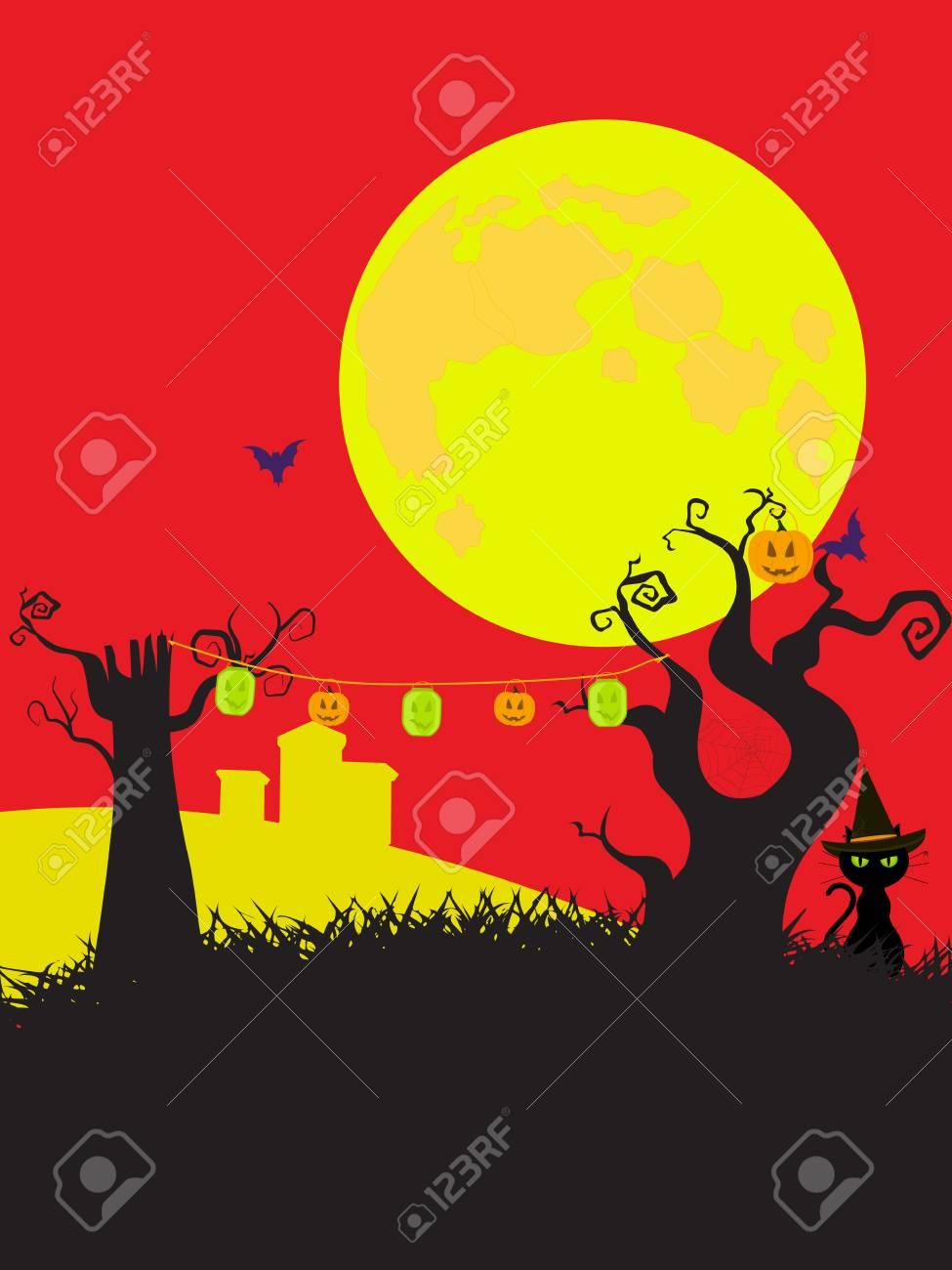 Dessins Animés Style Fond D Halloween Avec Arbre Effrayant Chat Lune Cimetière Et Lanternes