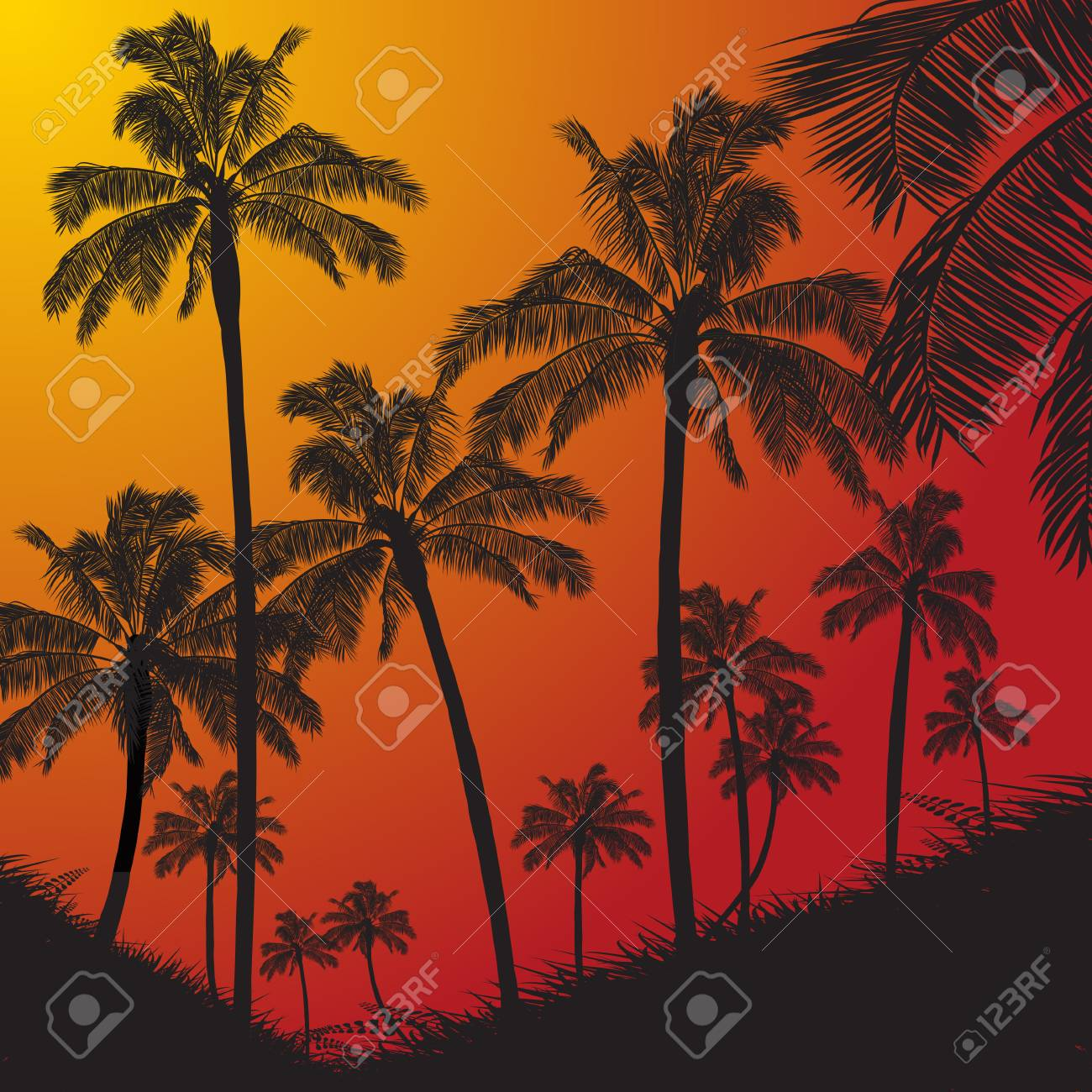 tropical palm trees and grass silhouette over red and yellow