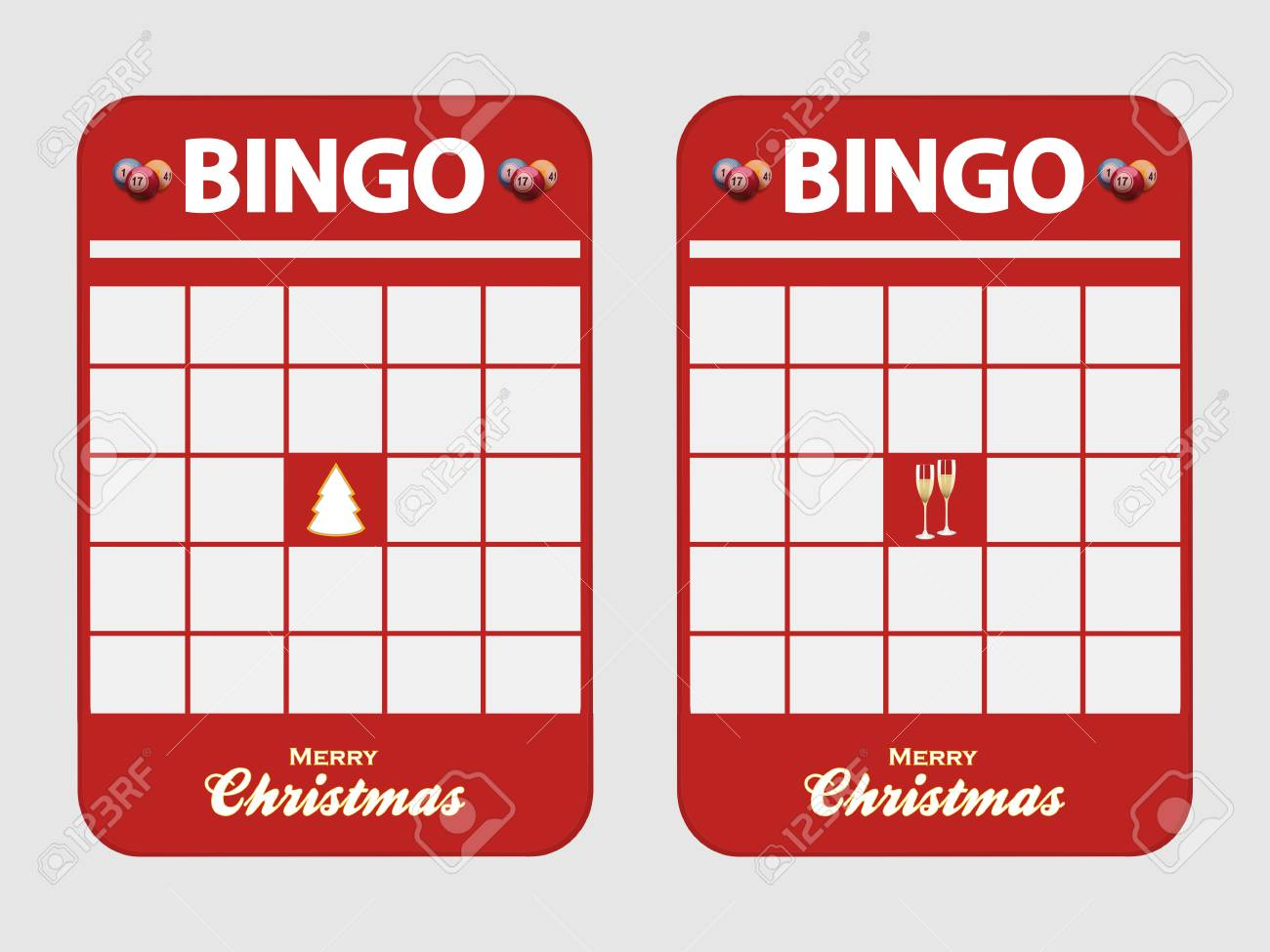 Christmas Bingo Cards.Christmas Festive Red Blank Bingo Cards Decorated With Christmas