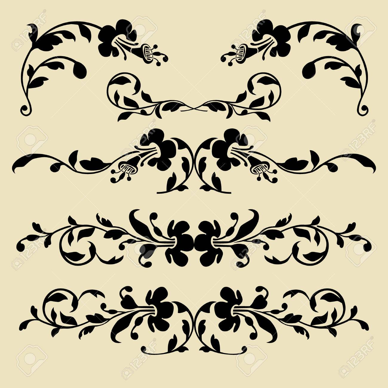 Set of baroque borders for design Stock Vector - 5729635