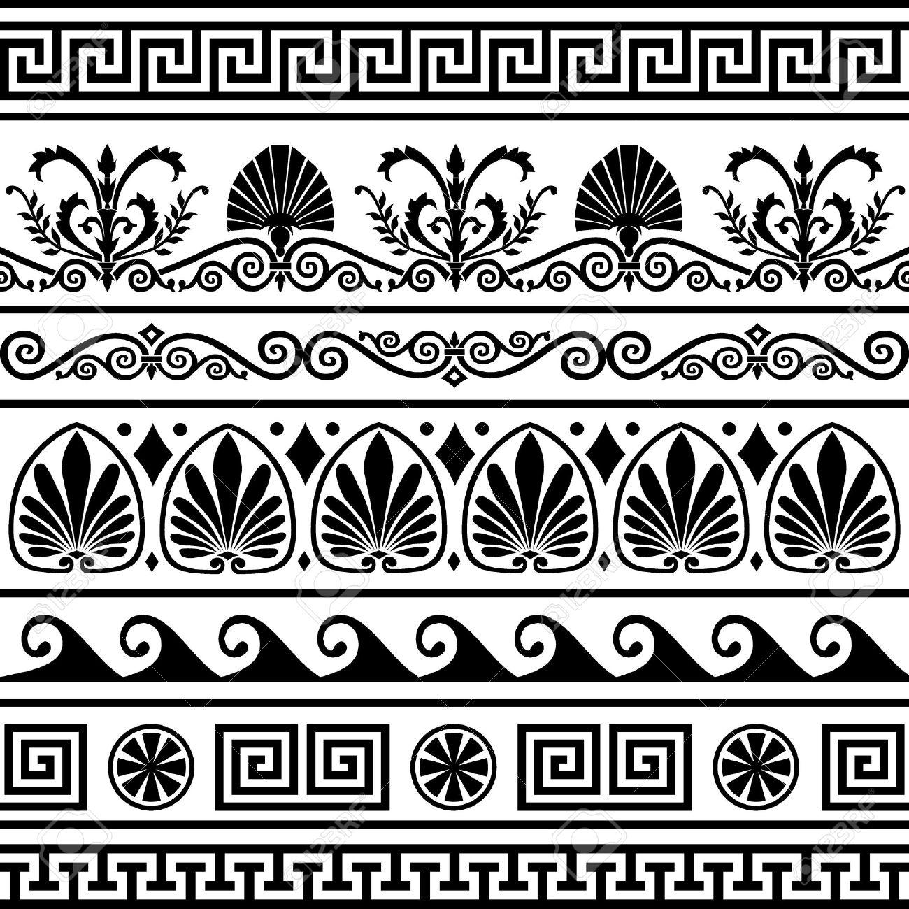 Set of antique greek borders - 6950876