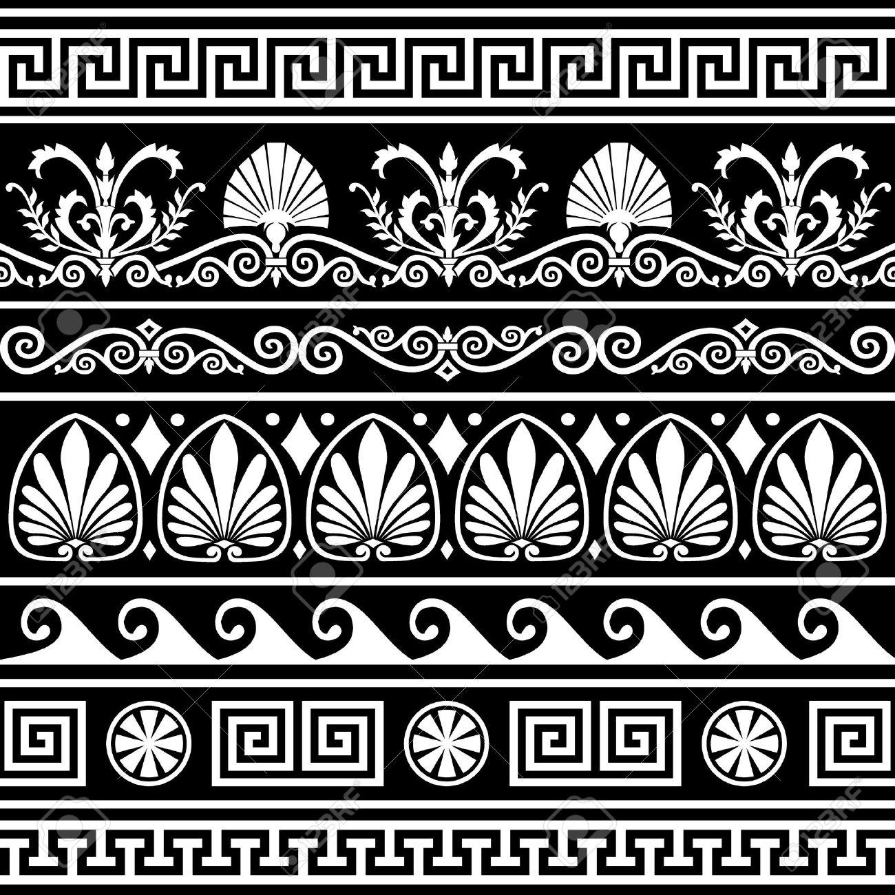 Set of antique greek borders on black - 7109596