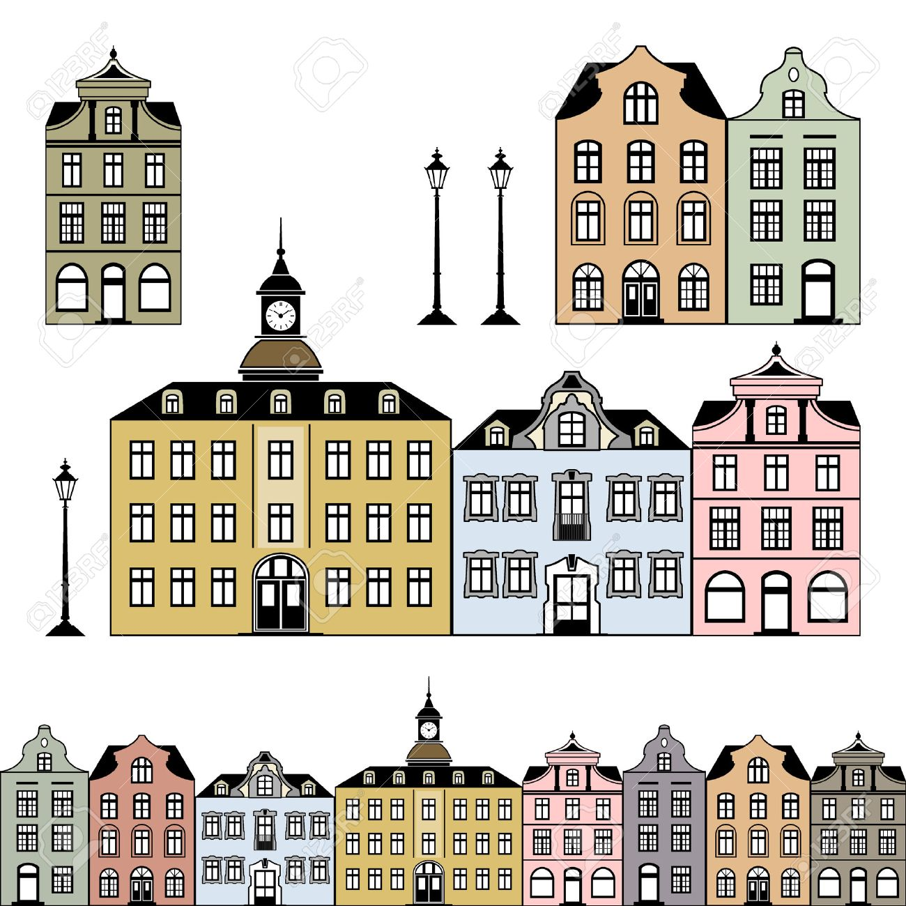 Old town houses. illustration Stock Vector - 8017306
