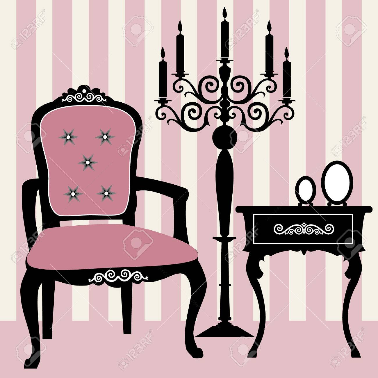 Antique chair silhouette - Antique Interior Stock Vector 8672959