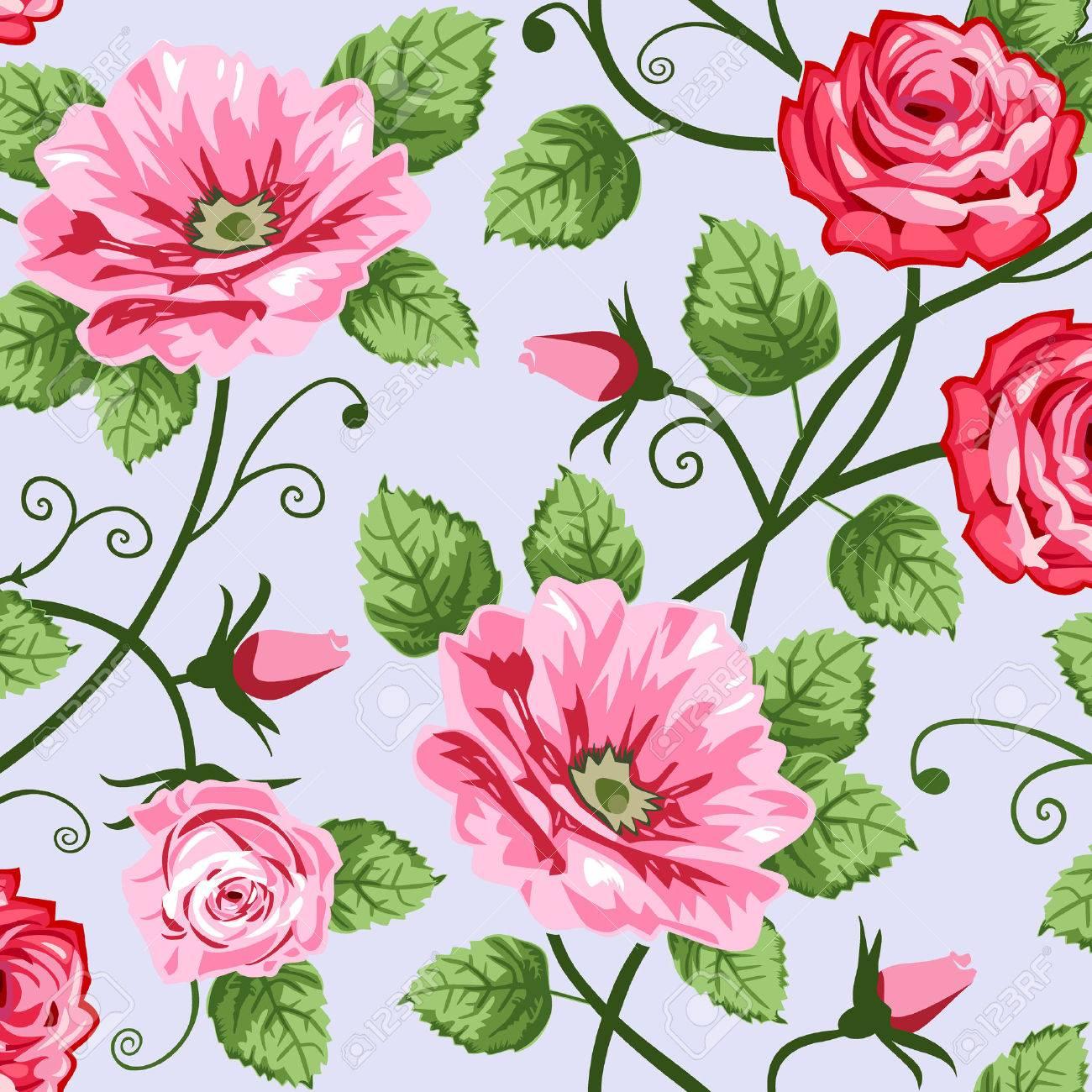 Romantic roses seamless pattern Stock Vector - 8828777