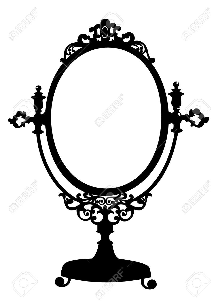 Silhouette of antique makeup mirror Stock Vector - 9174592