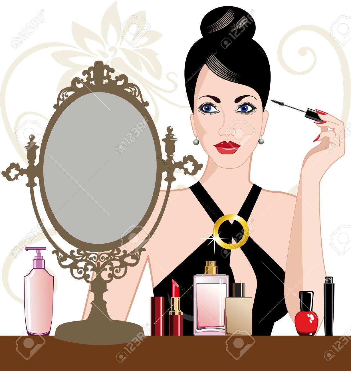 Glamour woman applying makeup Stock Vector - 9273914