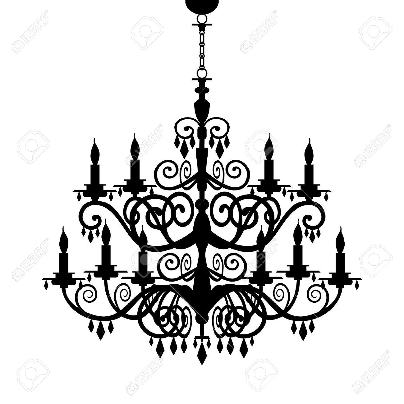 バロック式のシャンデリアのシルエットのイラスト素材ベクタ Image