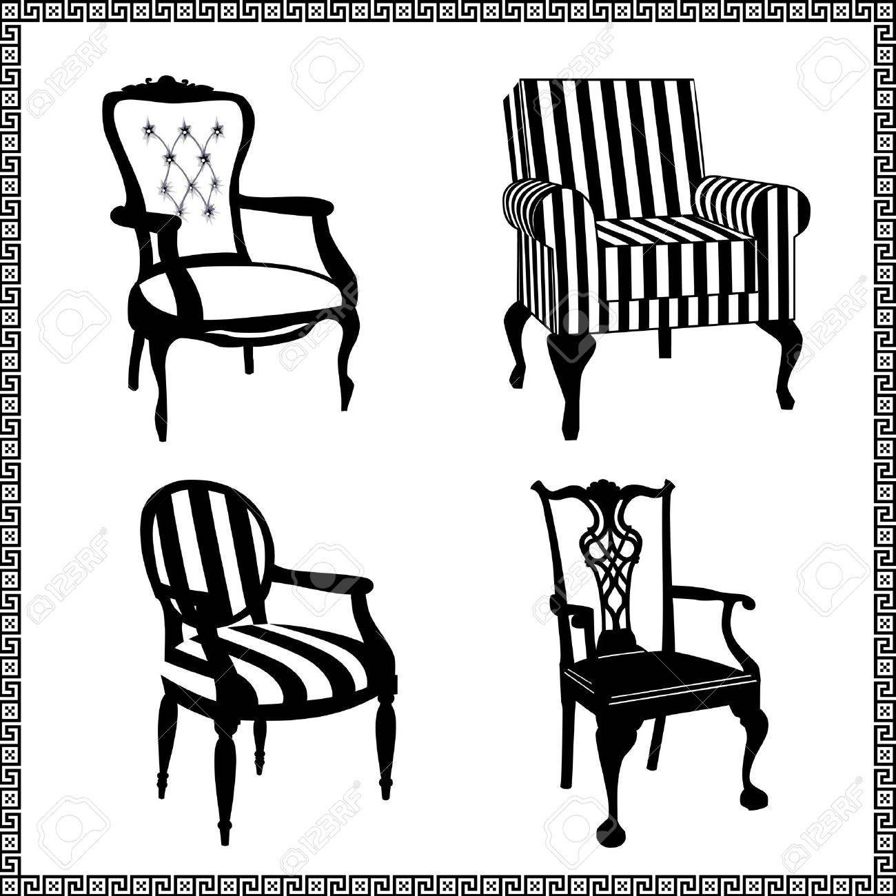 Set of antique chairs silhouettes - 9718251