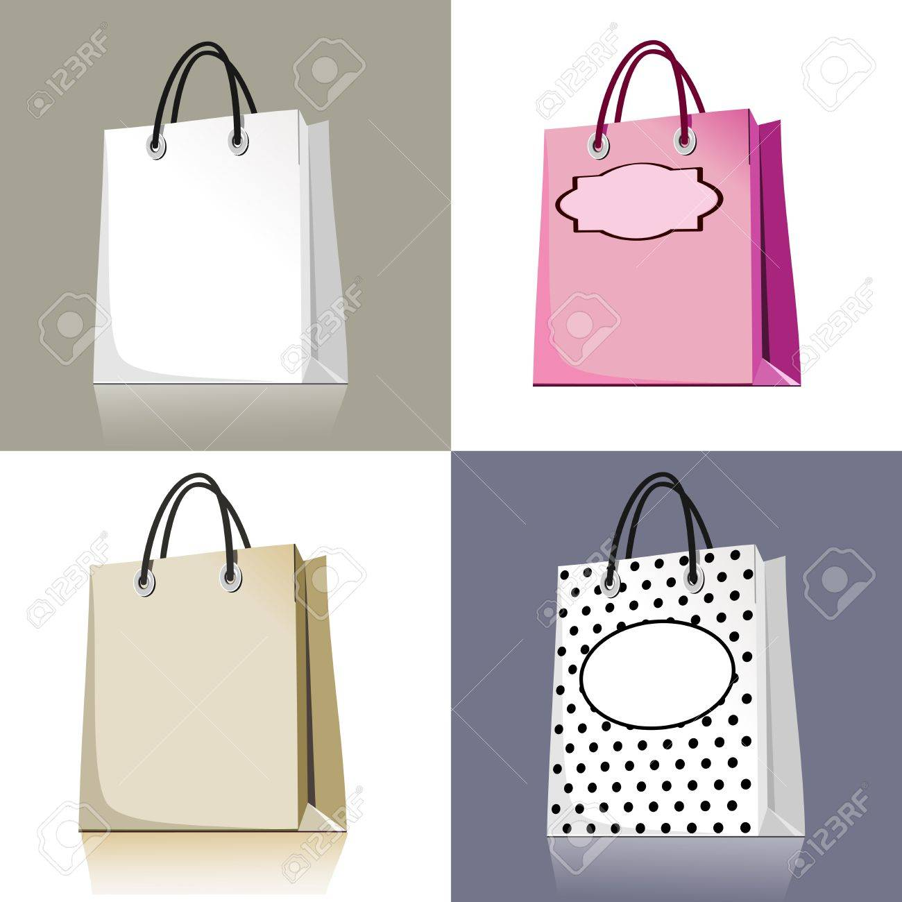 Set of shopping bags in different design and colors Stock Vector - 10031165