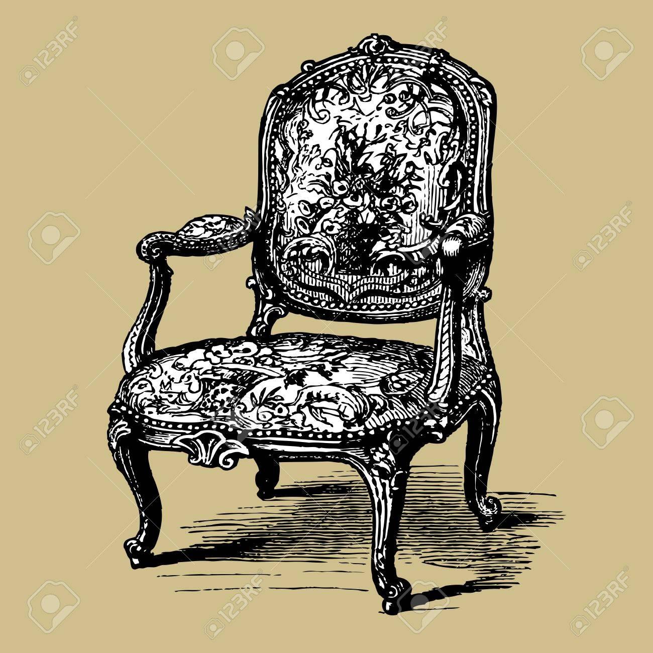 Antique baroque armchair Stock Vector - 10185079
