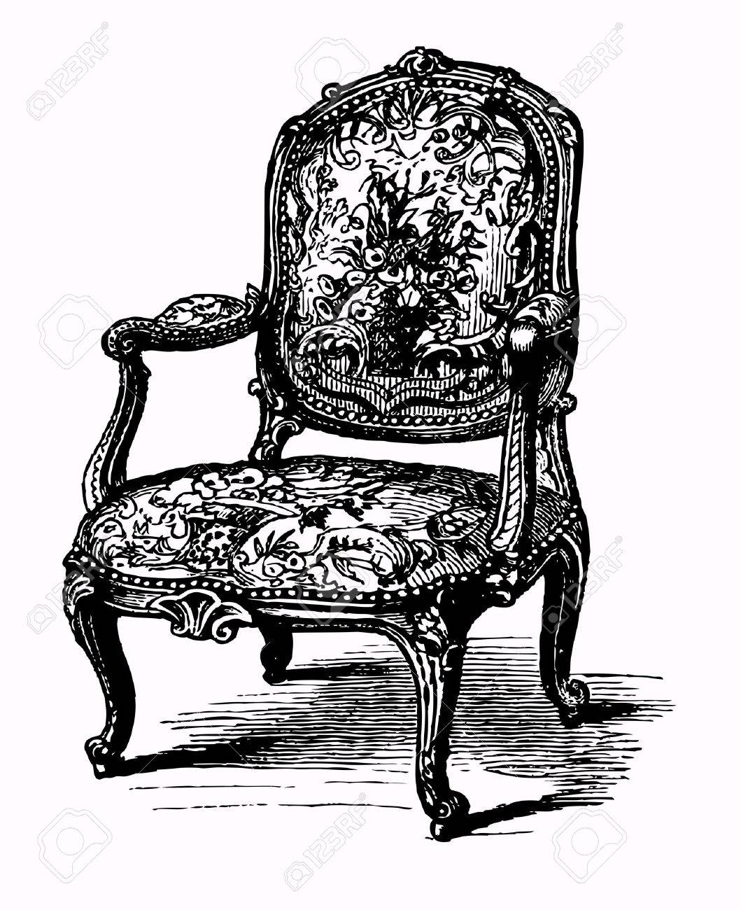 Antique chair drawing - Antique Armchair Stock Vector 10185080