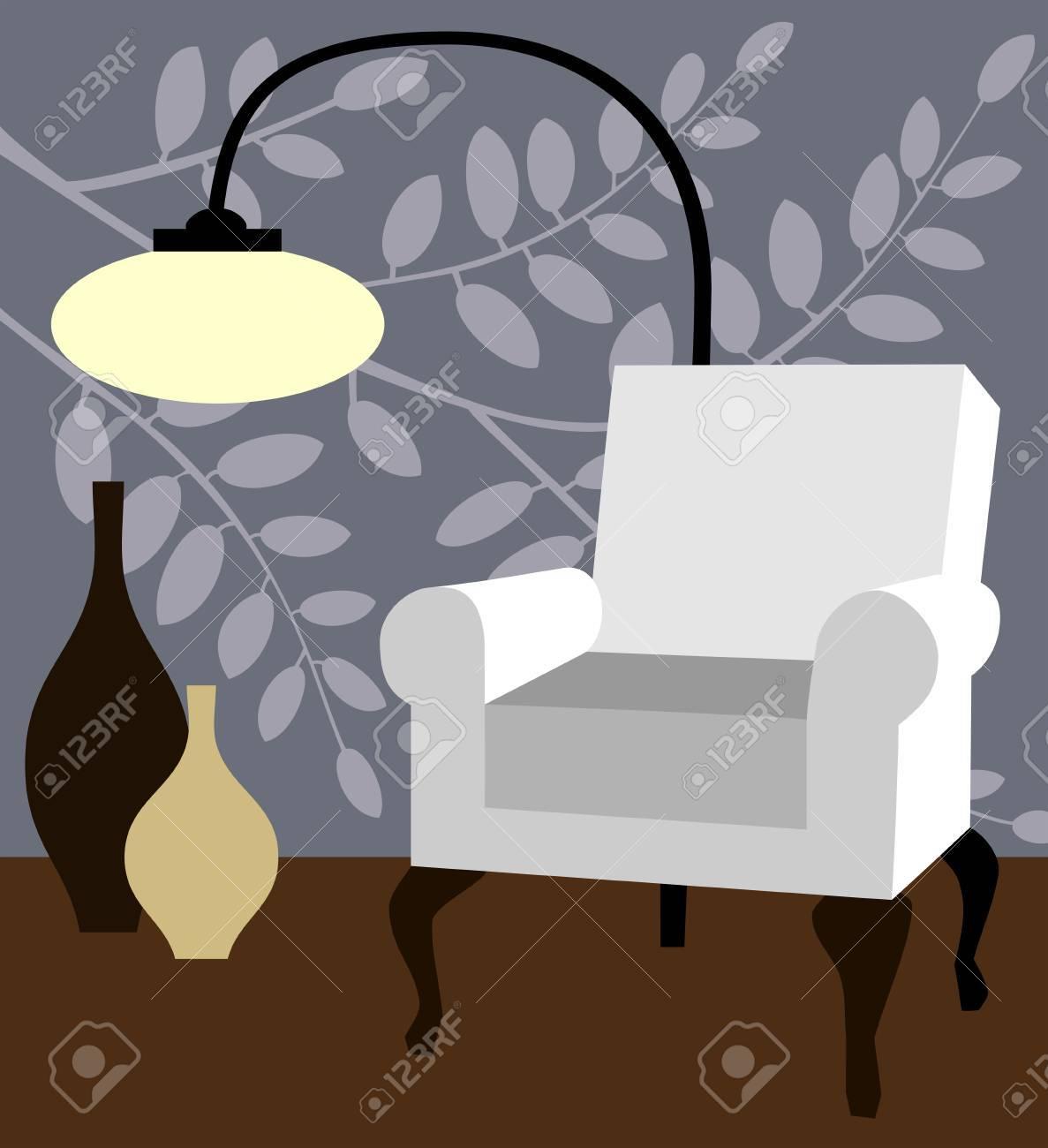 White armchair on natur blue background modern interior vector illustration Stock Vector - 11585098