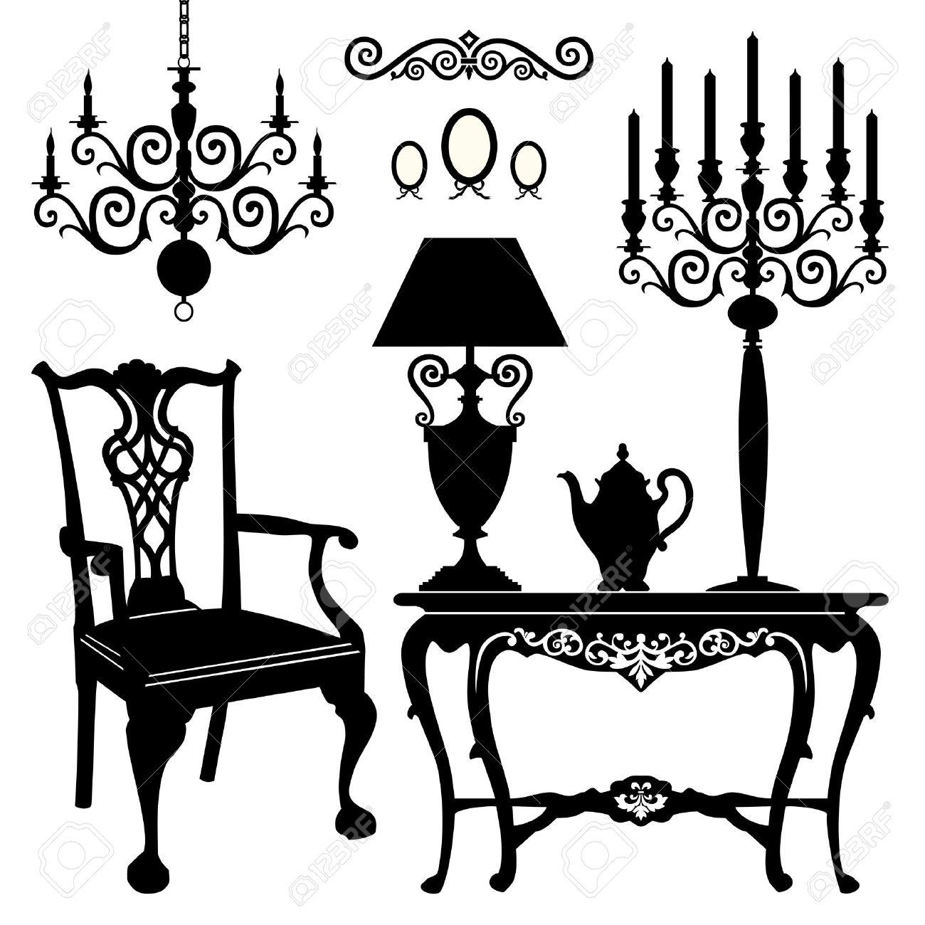 Antique chair silhouette - Antique Furniture Stock Vector 11585099