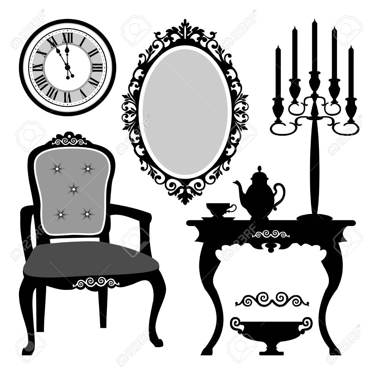 Antique chair silhouette - Antique Interior Objects Stock Vector 11868543