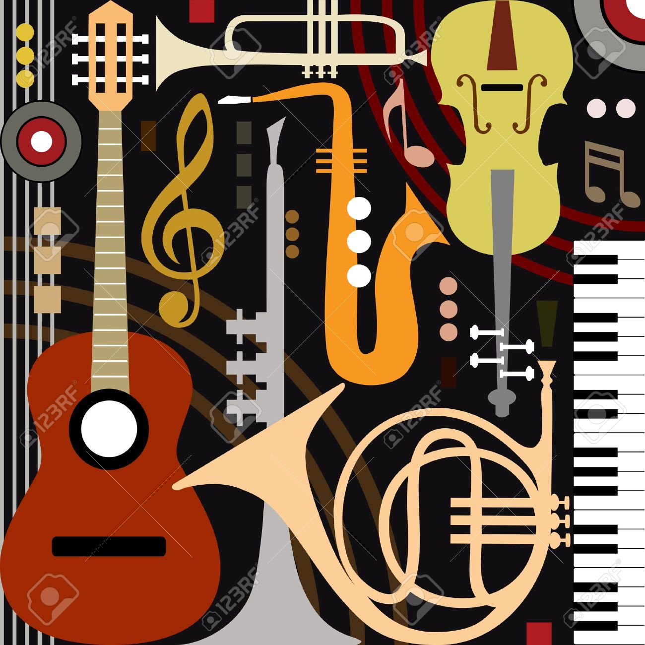 abstract musical instruments royalty free cliparts vectors and
