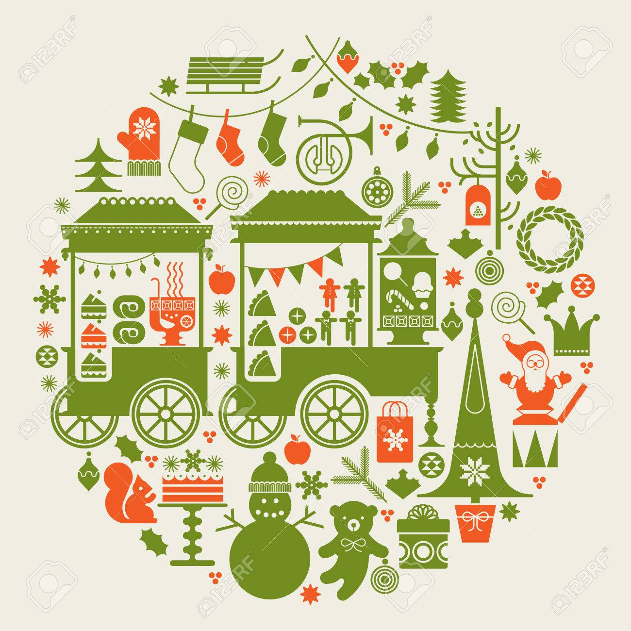 Round composition with Christmas market, street food trolleys, Christmas trees and holiday season symbols. - 45719885