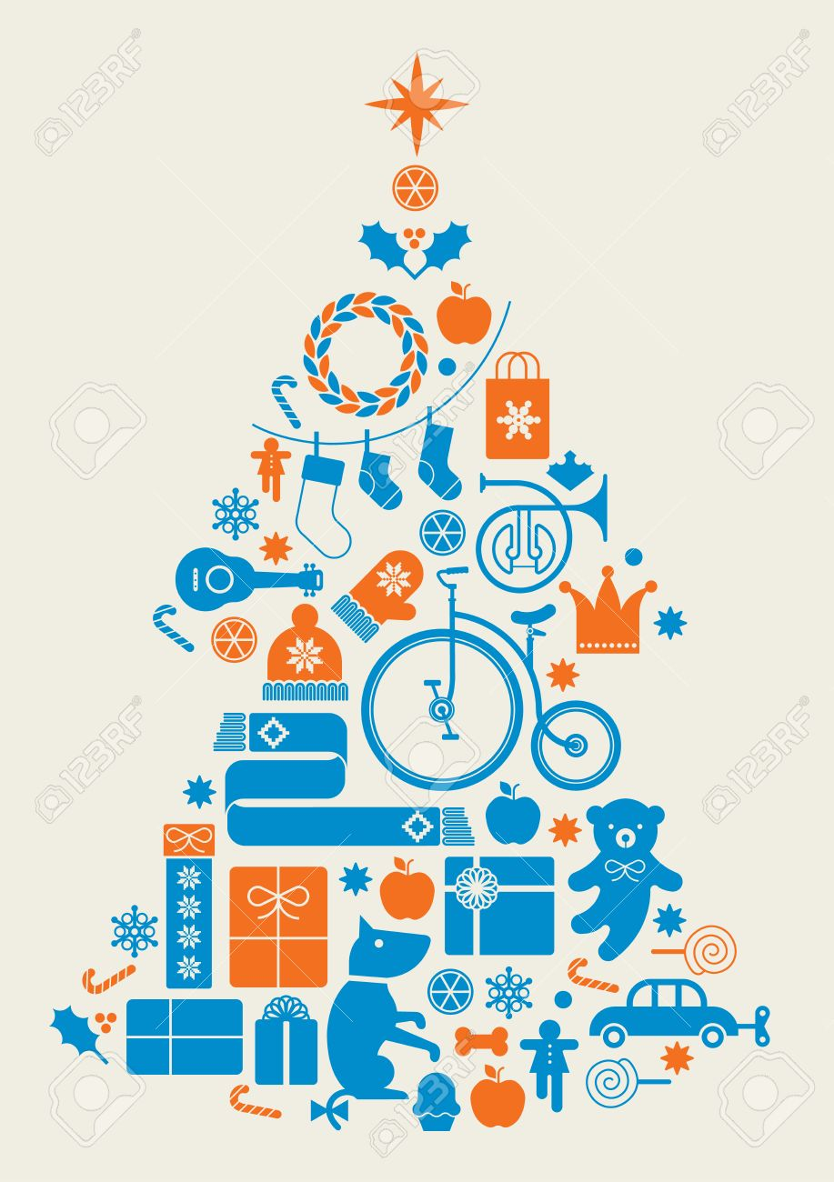 composition with silhouette of christmas tree made of seasonal