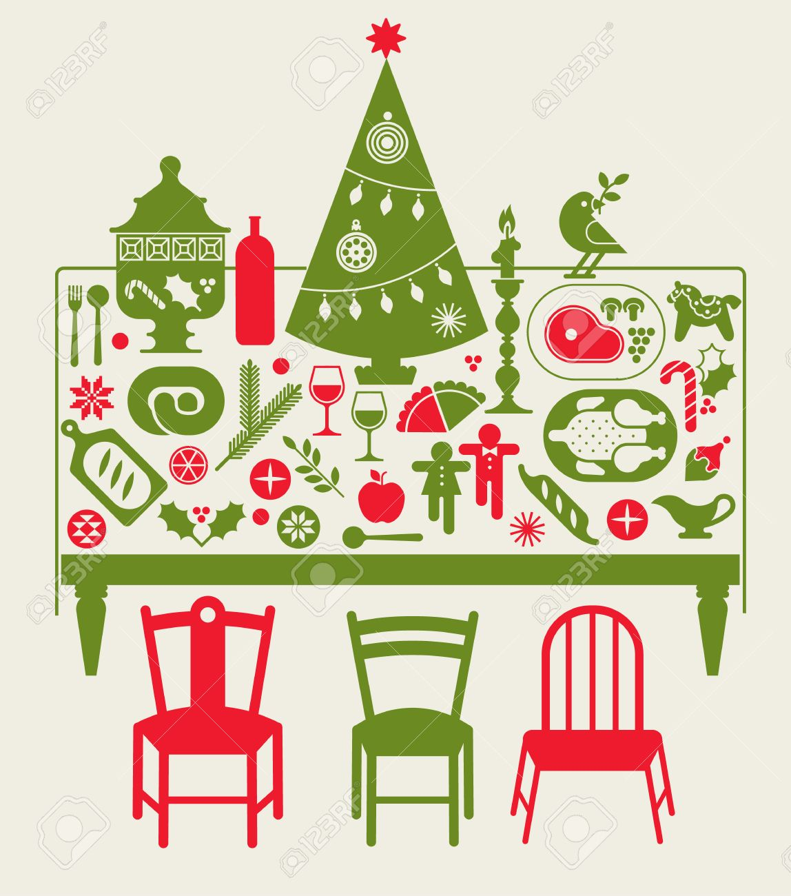 Composition With Christmas Dinner Table, Festive Food And ...