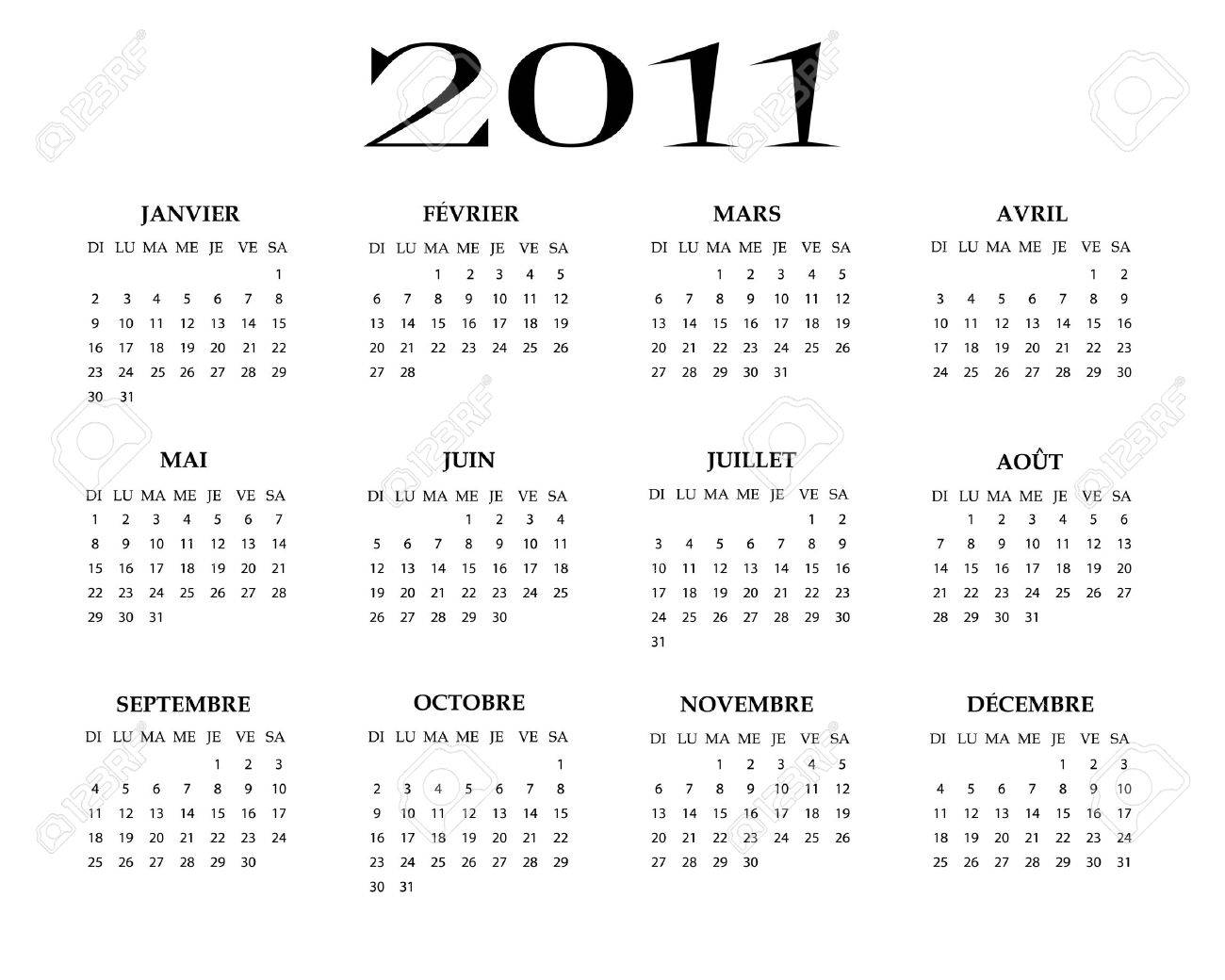 French calendar of 2011 year Stock Vector - 8249143