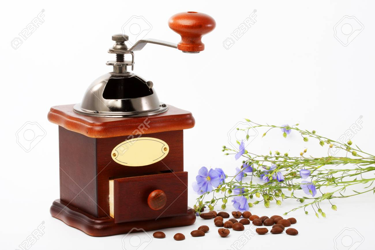 Coffee Grinder Coffee Beans A Bouquet Of Flowers Of Flax Stock