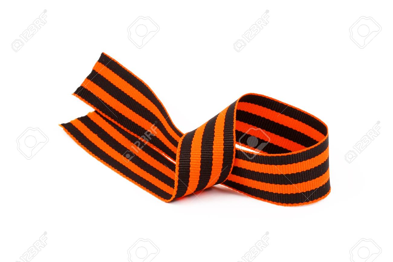 St. George ribbon, close-up isolated on a white background Stock Photo - 10318375
