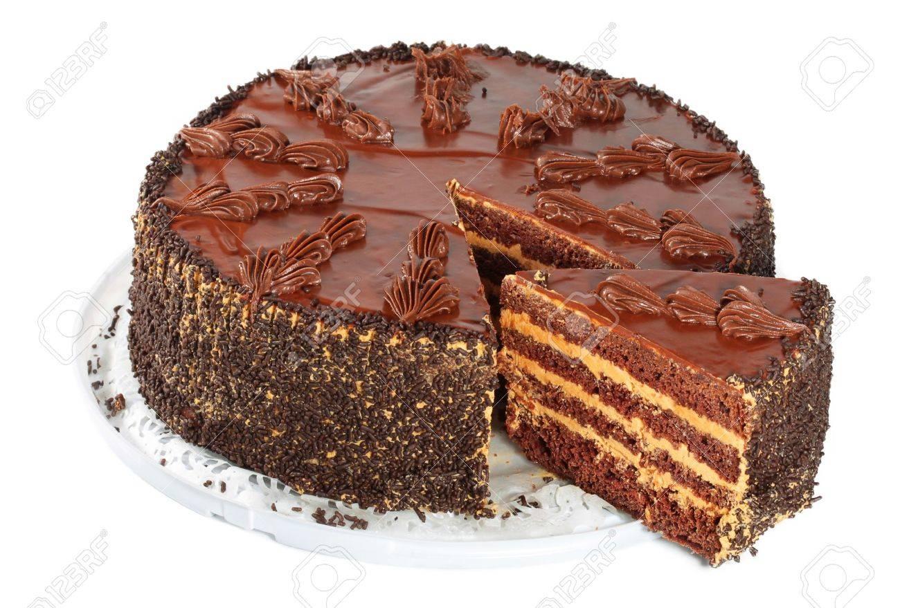 Decorated German Chocolate Cake Chocolate Cake Isolated On A White Background Stock Photo