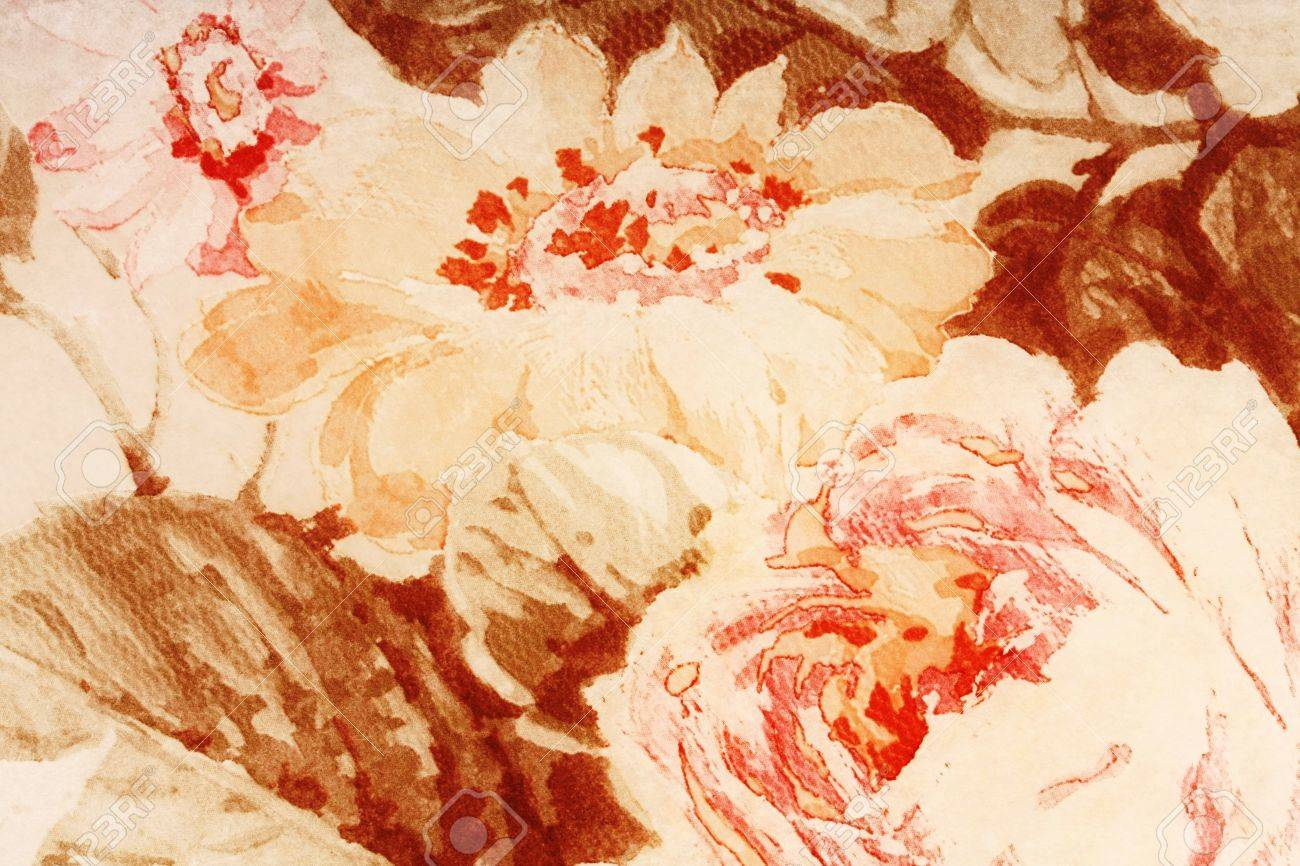 Parchment Paper Background Old Faded With Abstract Flowers Stock