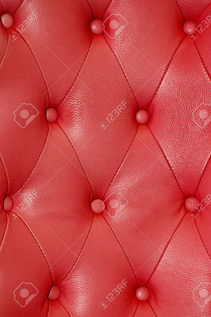 Texture Sofa Upholstery In Red Leather Stock Photo Picture And