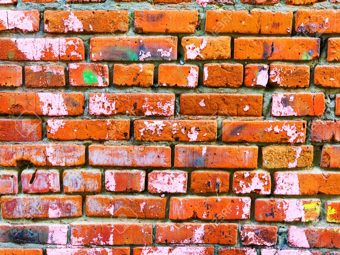Paint On The Walls Of Red Brick Brick Wall Splattered With Paint