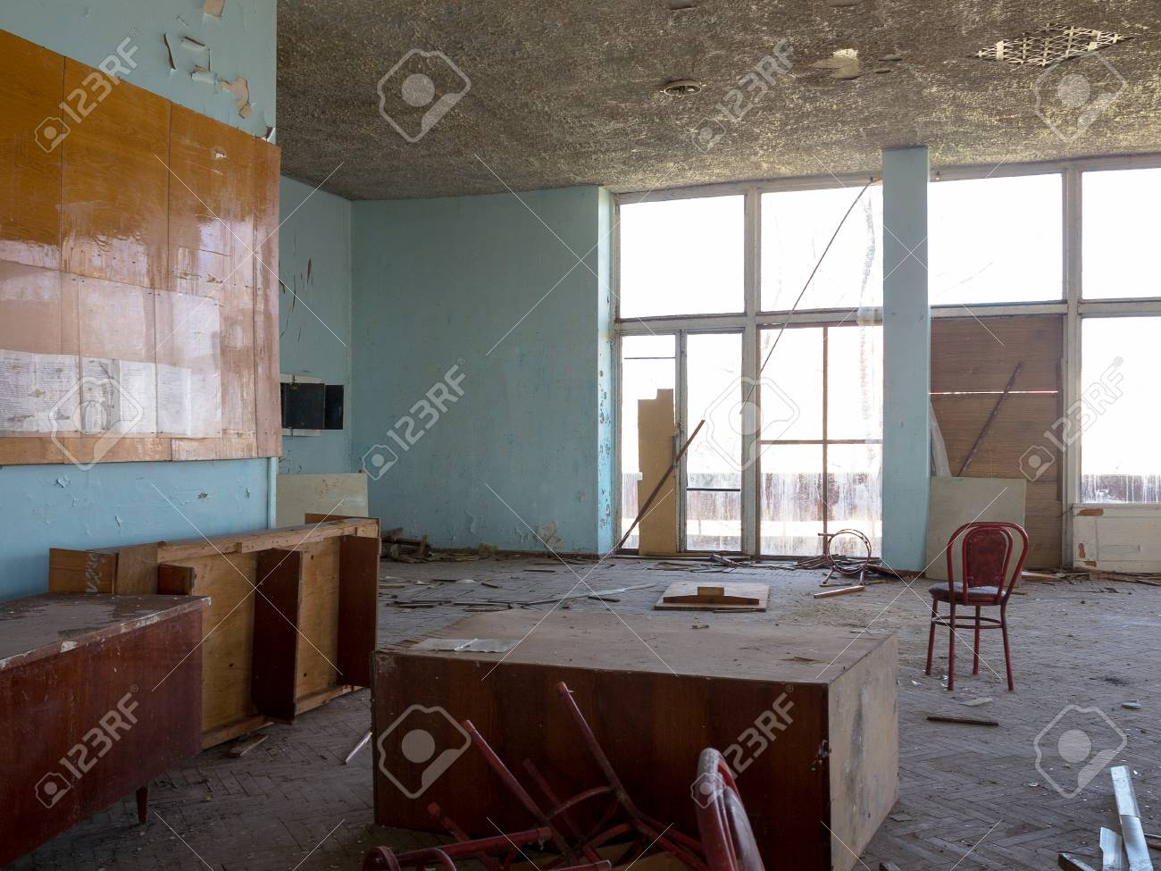 cinema room furniture. Old Furniture Scattered Around The Room. Interior Details Inside Destroyed House Of Culture. Cinema Room F