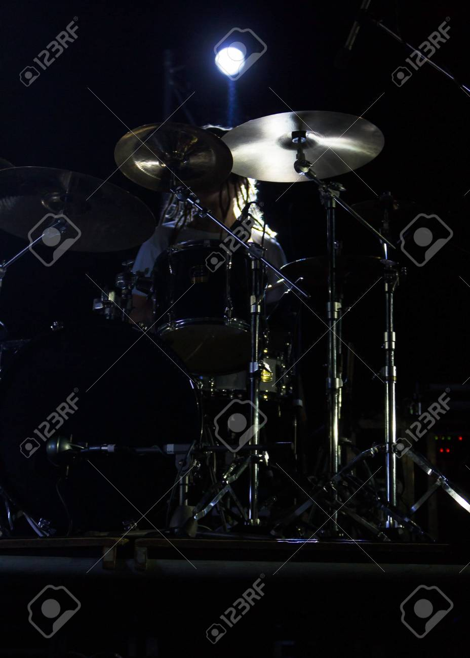 Live Music Photo Background Rock Drum Set With Cymbals Closeup