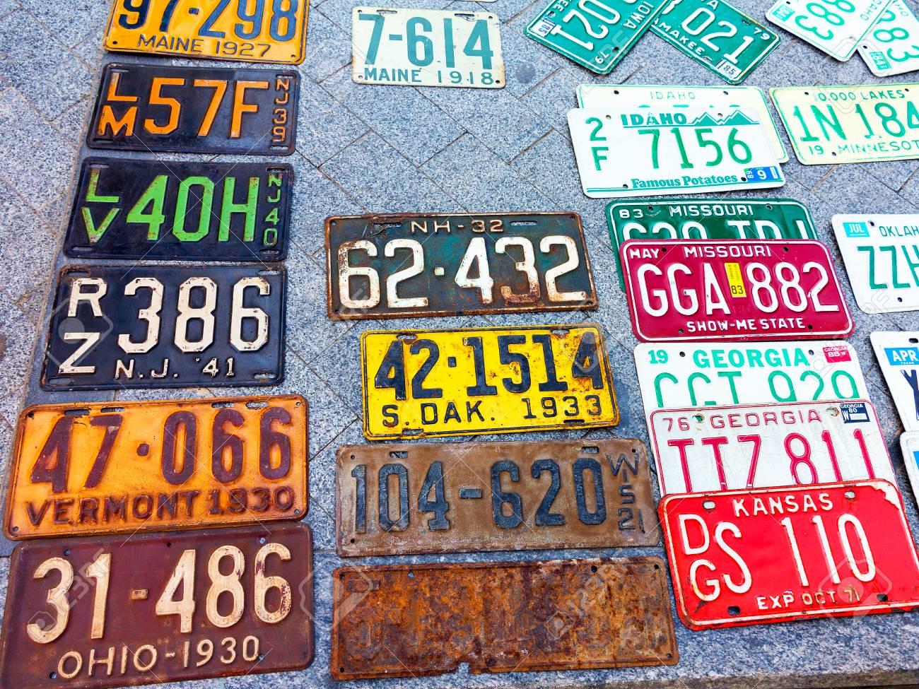 Odessa Ukraine Circa 2017 Car Numbers From Around The World