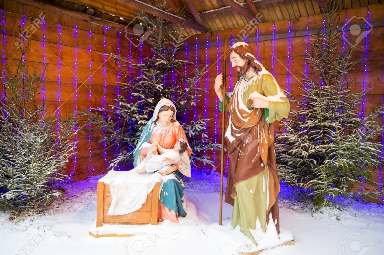 Christmas Stylized Composition Of The Birth Of Jesus Christ And ...
