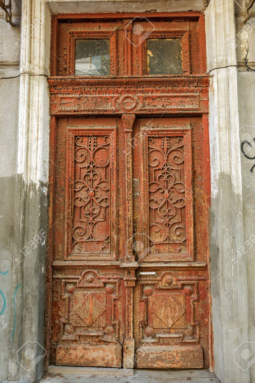 An Old Wooden Painted Antique Front Door An Old Wooden Front Stock Photo Picture And Royalty Free Image Image 105746253