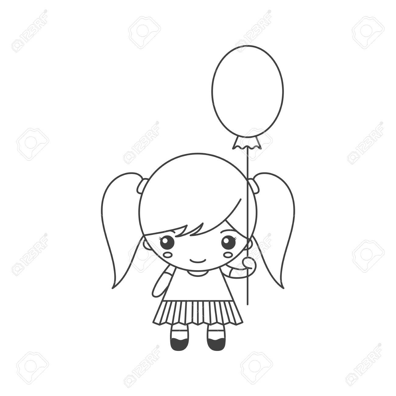 Dessin Animé Mignon Petite Fille Avec Ballon