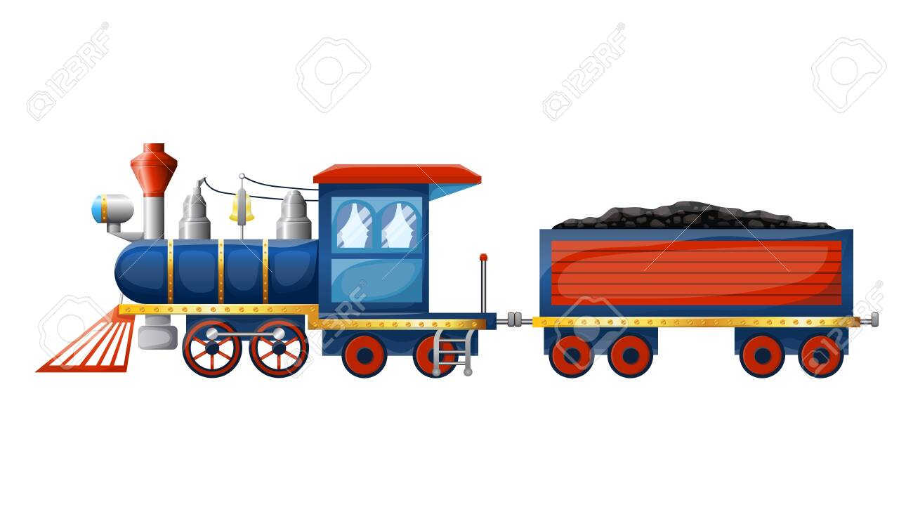 Train composition from cute cartoon colored retro steam locomotive and wagon with coal isolated on white background. Vector illustration - 137368494