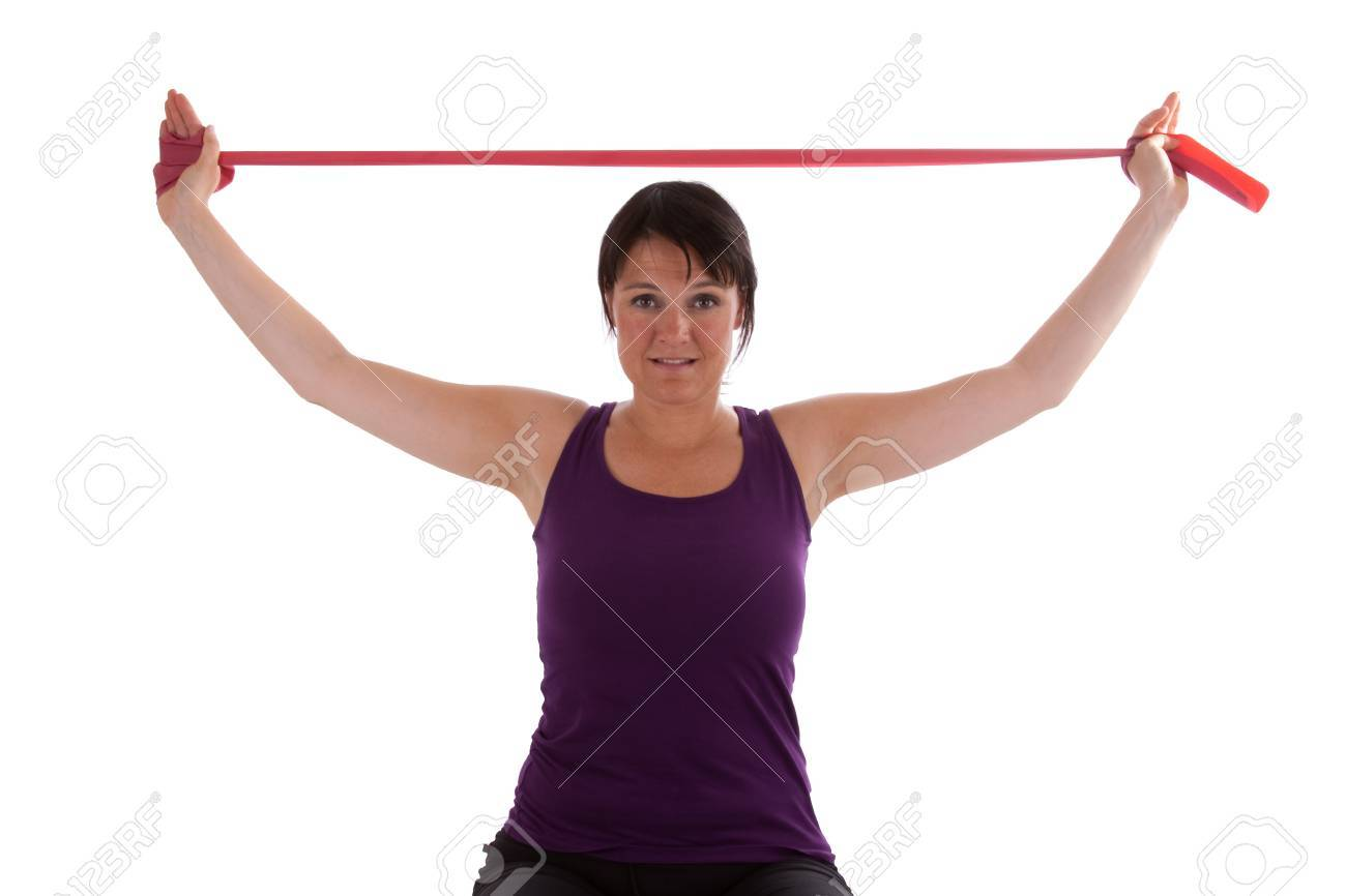 Exercises with Theraband Stock Photo - 8199774