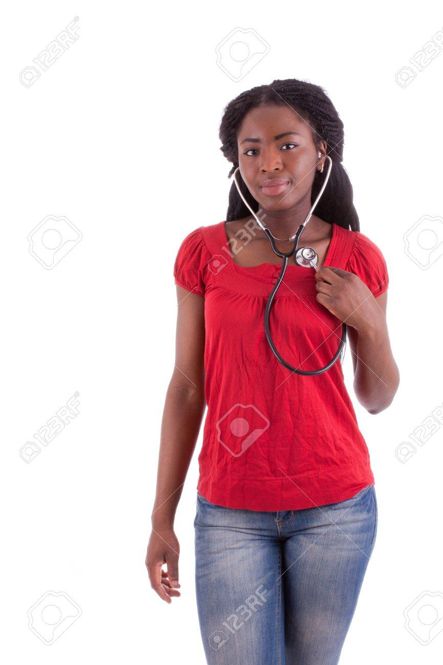 A young black doctor with a stethoscope in her hand Stock Photo - 9409058