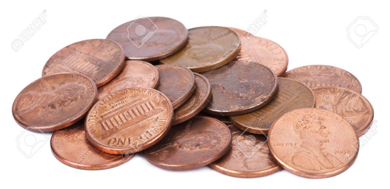 A pile of 1 US cent (penny) coins isolated on white background