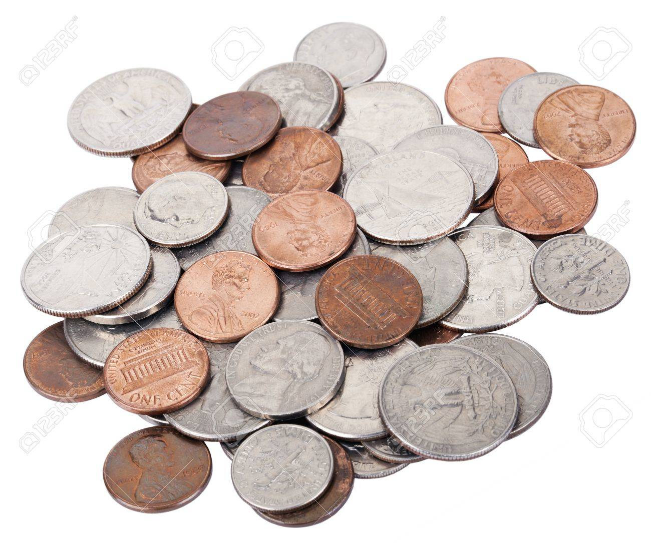 A pile of various American coins (quarters, dimes, nickels, pennies)..