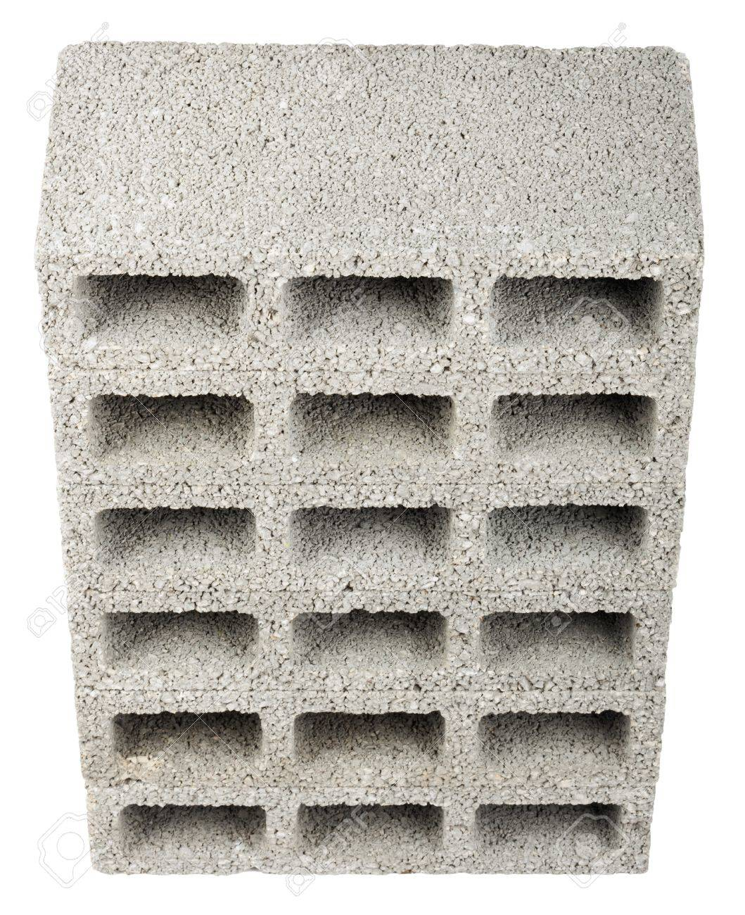 4fbb0851ee7a7 High angle view of six gray concrete construction blocks (a.k.a. cinder  block, breeze block, cement block, foundation block, besser block; ...