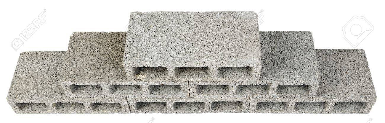 Six gray concrete construction blocks (a k a  cinder block, breeze