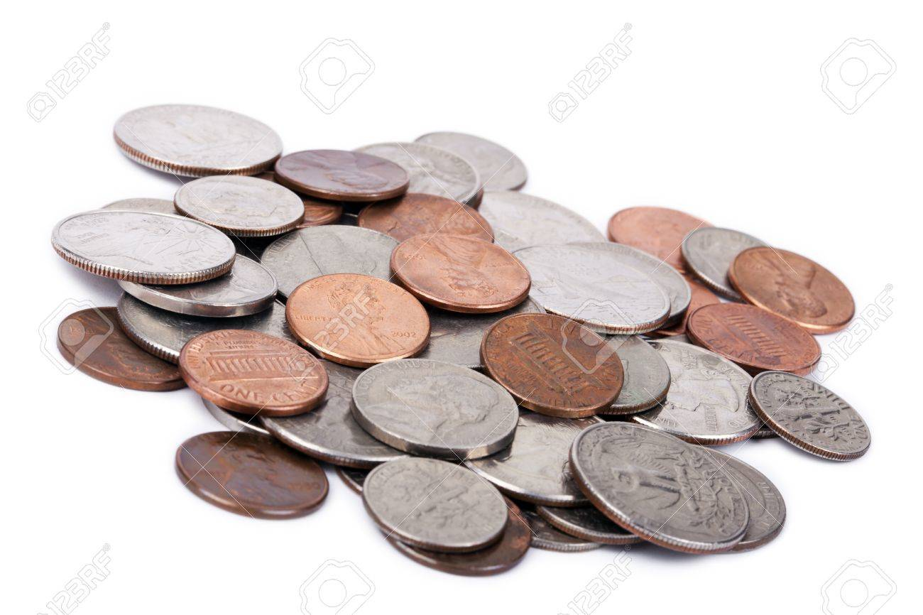 A Pile Of Various American Coins (quarters, Dimes, Nickels, Pennies ...