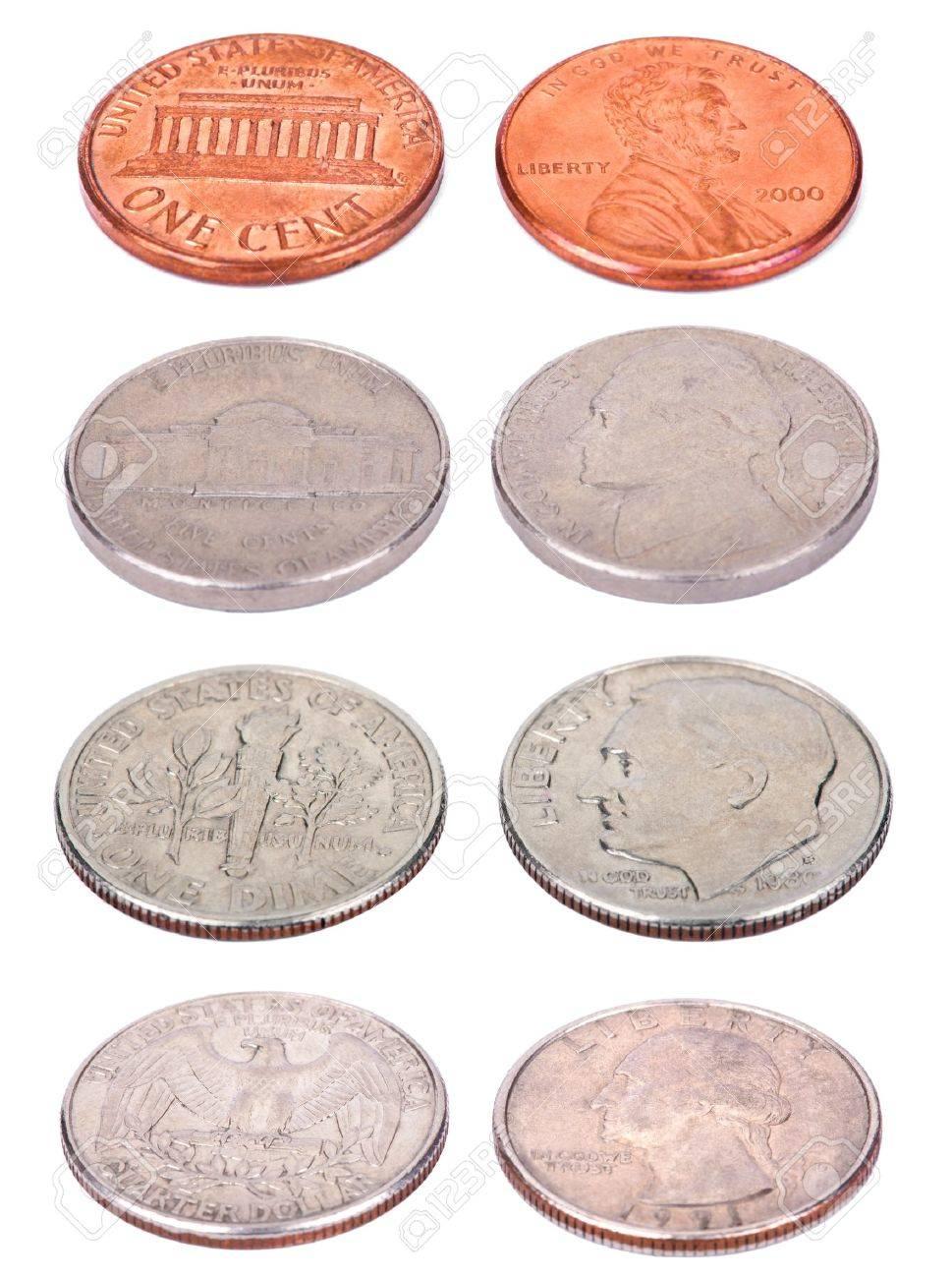 Beide Seiten Der Usa Münzen Aus Einem Etwas Hohen Winkel Geschossen